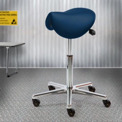 Satulatuoli ESD Ergonea Luxe edullinen ja ergonominen kotimainen, paras hinta ESD satulatuolit naisille sininen ja musta, kotimainen satulatuoli ESD-kangas edulliseen hintaan hyvä tarjous ergonomia satulatuolit esd myös selkänojalla hintaan