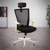 Valkoinen työtuoli ja toimistotuoli täydellinen Ergonea Airex tyylikäs verkkoselkä toimistotuoli